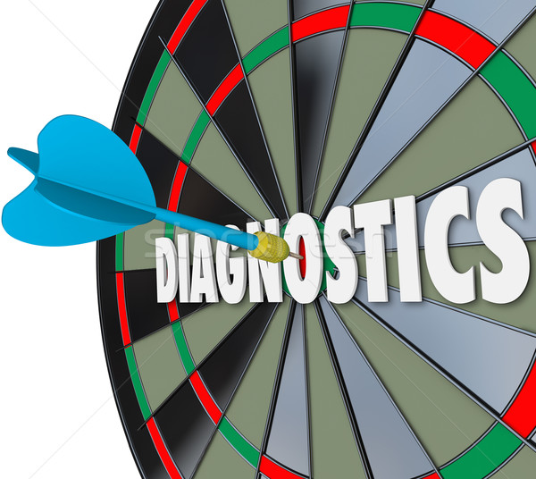 Diagnostics Word Dart Board Find Solution Problem Aim Target Stock photo © iqoncept