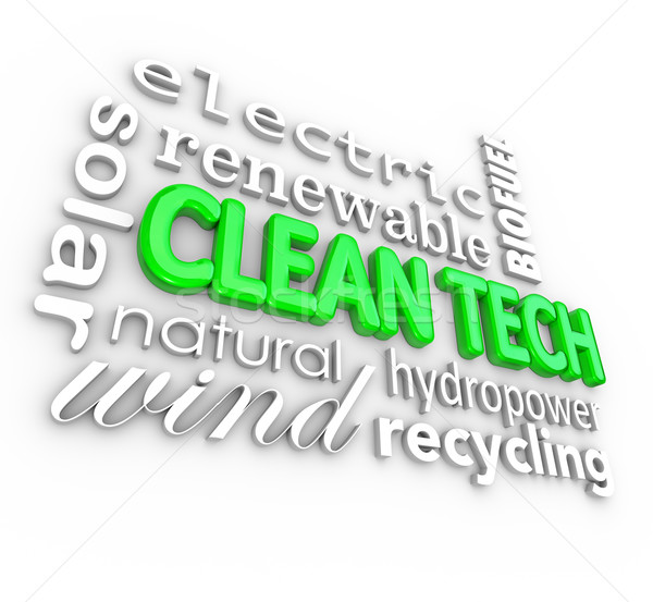 Clean Tech 3D Words Technology Disruptive Energy Power Business Stock photo © iqoncept