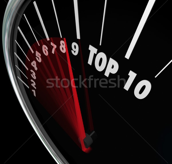 Top 10 Speedometer Scores Rising Achieve Best Ten Rating Stock photo © iqoncept