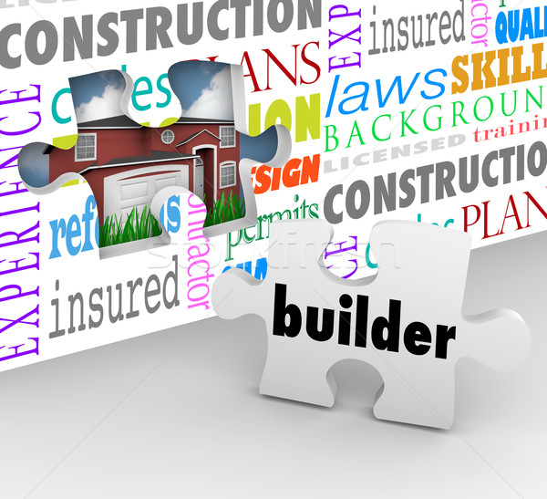 Builder Puzzle Piece Wall New Home Building Construction Words Stock photo © iqoncept