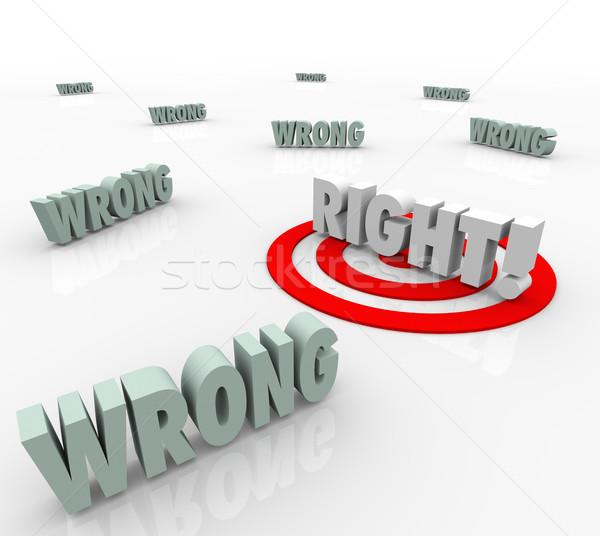 Direito vs errado alvo palavras escolher Foto stock © iqoncept