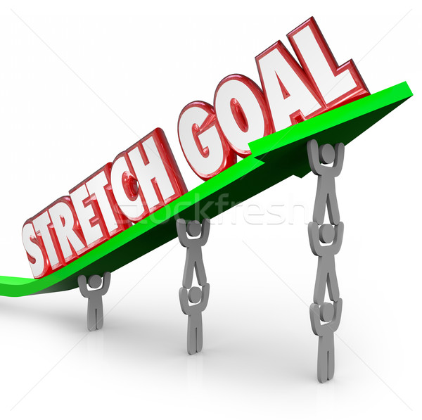 Stretch Goal Team Lifting Words on Arrow Mission Objective Stock photo © iqoncept