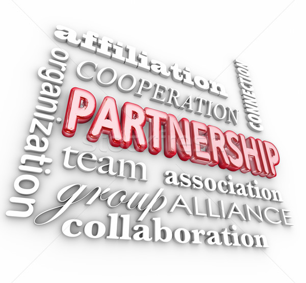 Partnership 3d Word Collage Team Association Alliance Stock photo © iqoncept