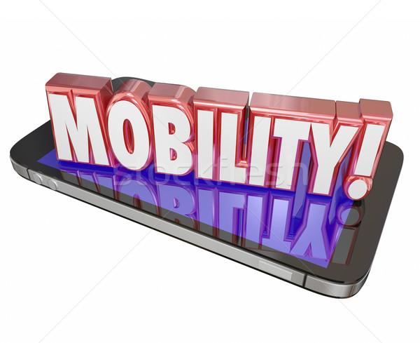 Movilidad 3D palabra células teléfono móvil nuevos Foto stock © iqoncept