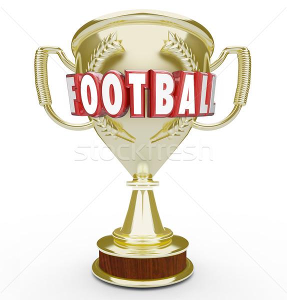 Football Best Team Golden Trophy Award Soccer Champion Winner Vi Stock photo © iqoncept