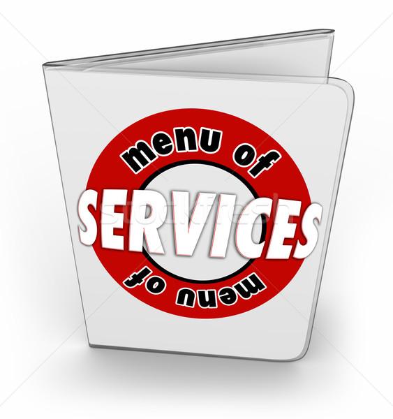 Stok fotoğraf: Menü · hizmetleri · sipariş · satın · almak · özellikleri · ürünleri