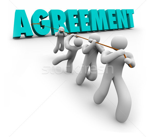 Agreement Team Pulling 3d Word Concensus Working Negotiate Settl Stock photo © iqoncept