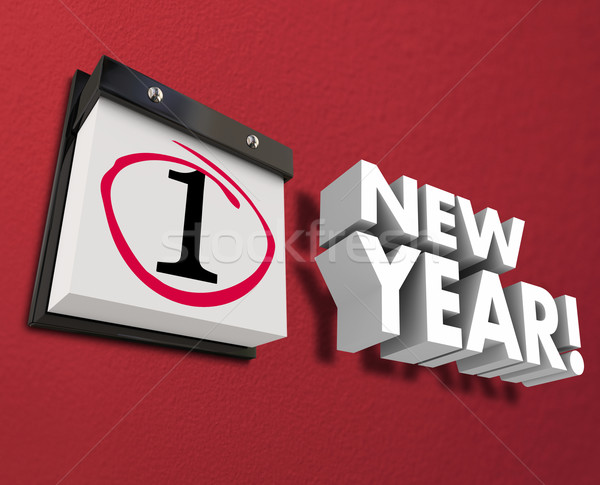 Stock photo: New Year Day Calendar Date Wall Hanging First Day January 1