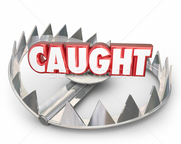 Caught 3d Word Steel Bear Trap Danger Capture Stock photo © iqoncept