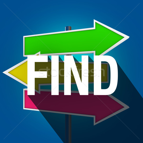 Find Word Long Shadow Arrow Signs Direction Searching Guidance Stock photo © iqoncept
