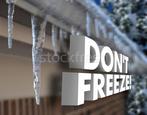 Don't Freeze 3d Words Cold Weather Winter Storm Frozen Stock photo © iqoncept
