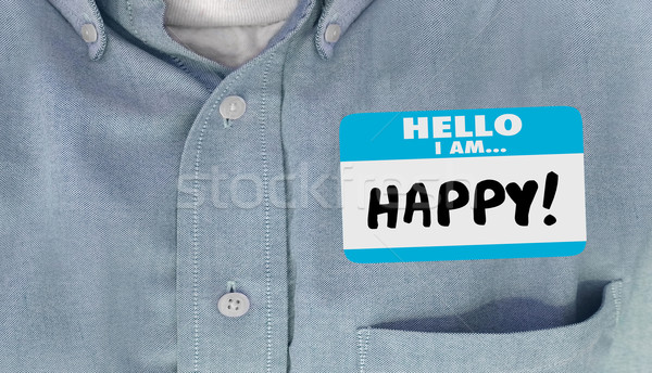 Stock photo: Hello I am Happy Name Tag Joy Emotion Content Satisfaction