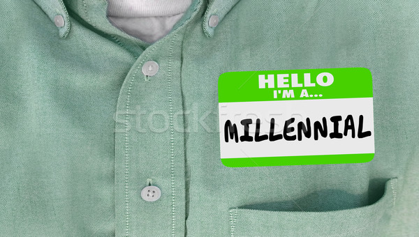 Hello I am a Millennial Generation Y Nametag Sticker Word Stock photo © iqoncept