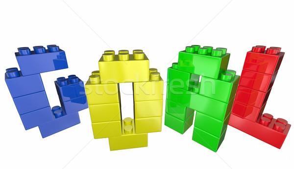 Stock fotó: Gól · építőkockák · vívmány · teljesítmény · siker · 3D