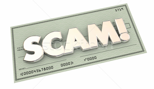 Scam Fraud Money Stealing Theft Word Check 3d Illustration Stock photo © iqoncept