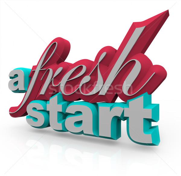 Nowy początek 3D słowa biały świeże początku Zdjęcia stock © iqoncept