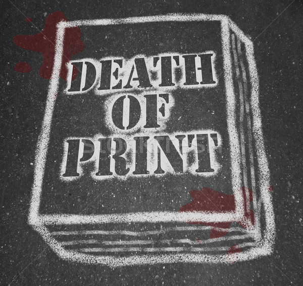 Death of Print - Chalk Outline of Book Stock photo © iqoncept