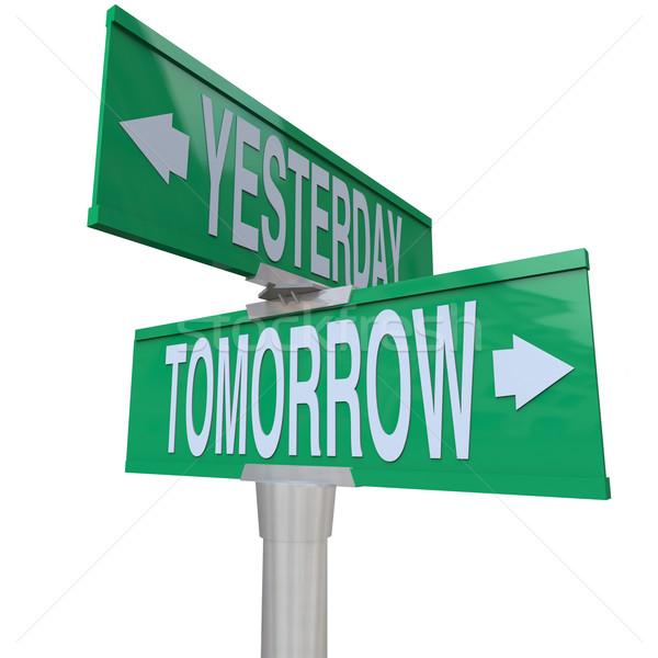 ストックフォト: 昨日 · 明日 · 道路標識 · 緑 · ポインティング · 右
