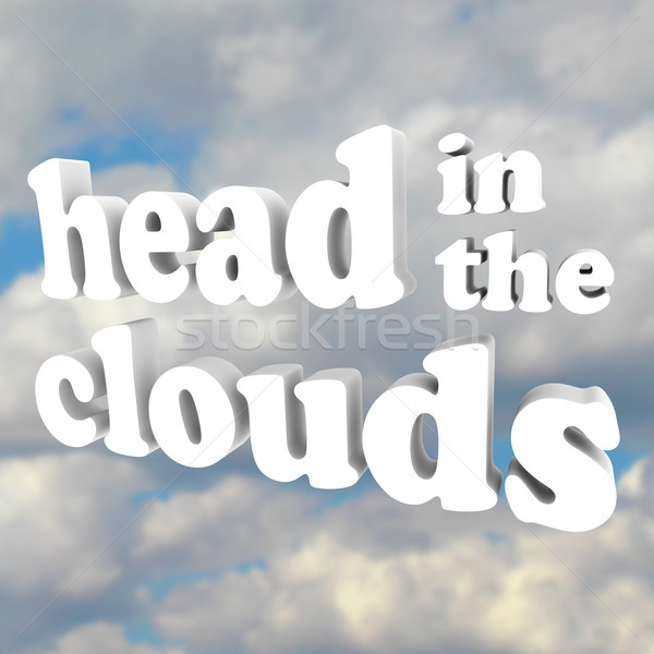 Head in the Clouds 3D Words in Cloudy Sky Stock photo © iqoncept