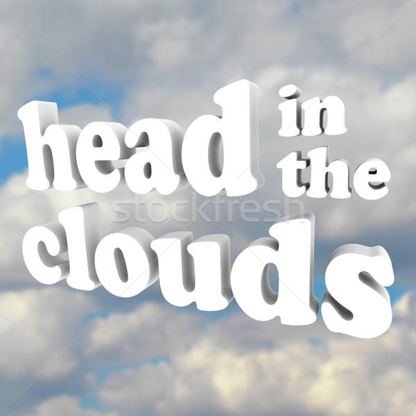 Hoofd wolken 3D woorden bewolkt hemel Stockfoto © iqoncept