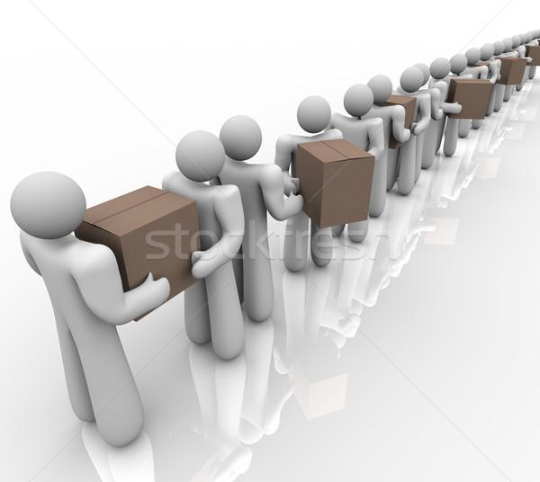 Emberek hordoz dobozok logisztika házhozszállítás csomagok Stock fotó © iqoncept