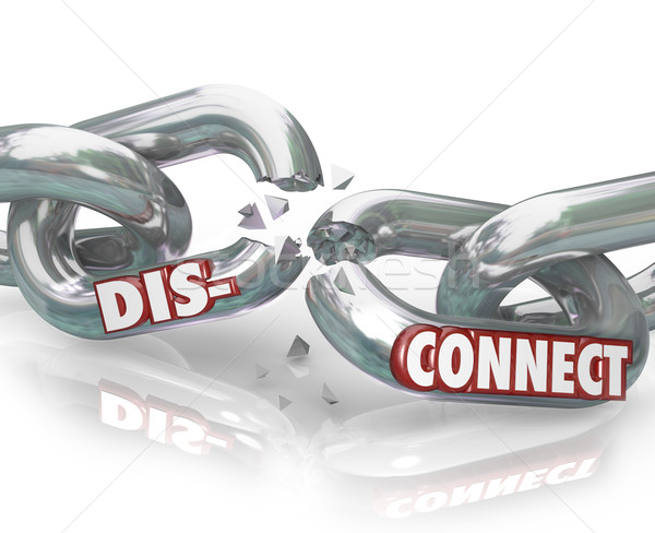 Disconnect Words Broken Chain Links Separation Apart Stock photo © iqoncept
