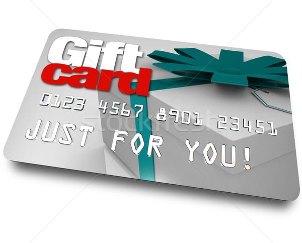 Cartão de presente compras plástico crédito palavras Foto stock © iqoncept