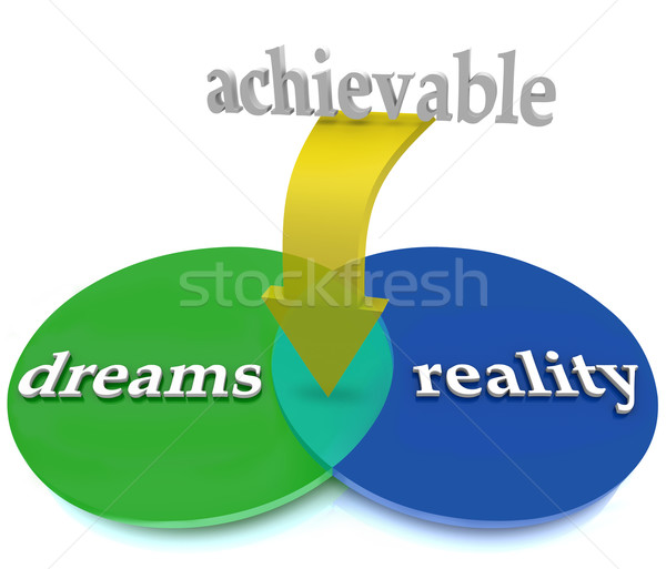Dreams Vs Reality Venn Diagram Overlapping Achievable Opportunit Stock photo © iqoncept