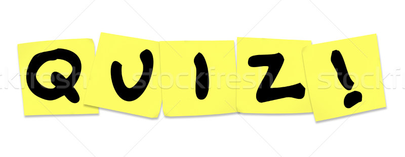 Quiz woord Geel sticky notes test examen Stockfoto © iqoncept