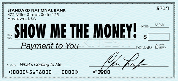 Show Me the Money Check Payday Earnings Wages Stock photo © iqoncept