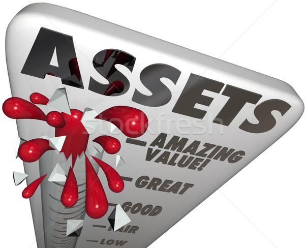 Assets Thermometer Value Level Words Measure Wealth Increasing Stock photo © iqoncept