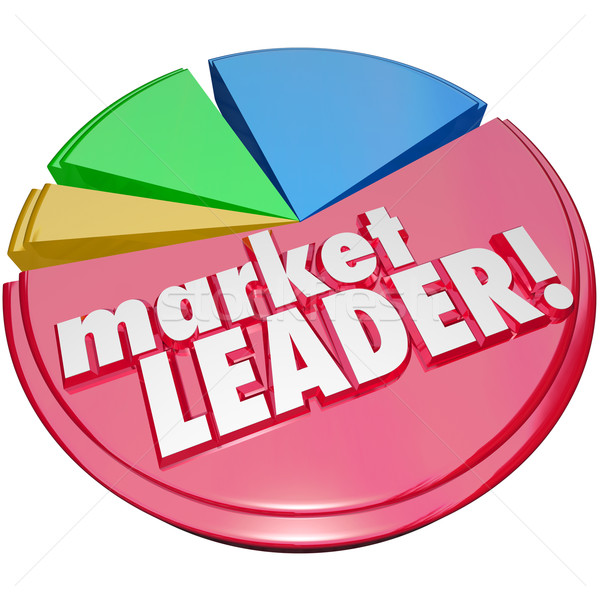 Market Leader Words Pie Chart Top Winning Company Biggest Share Stock photo © iqoncept