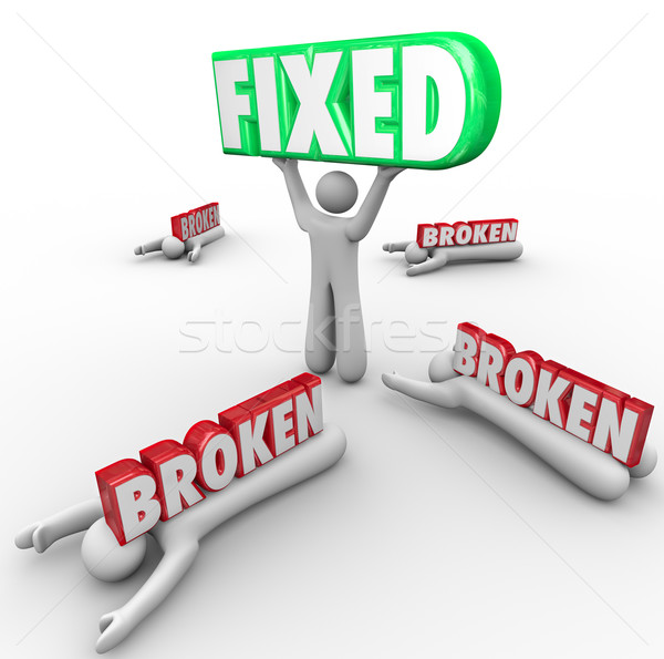 Fixed Vs Broken One Person Repair Solves Problem Others Fail Stock photo © iqoncept