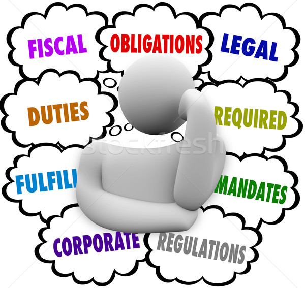 Obligations Thinker Thought Clouds Fiscal Financial Legal Duties Stock photo © iqoncept