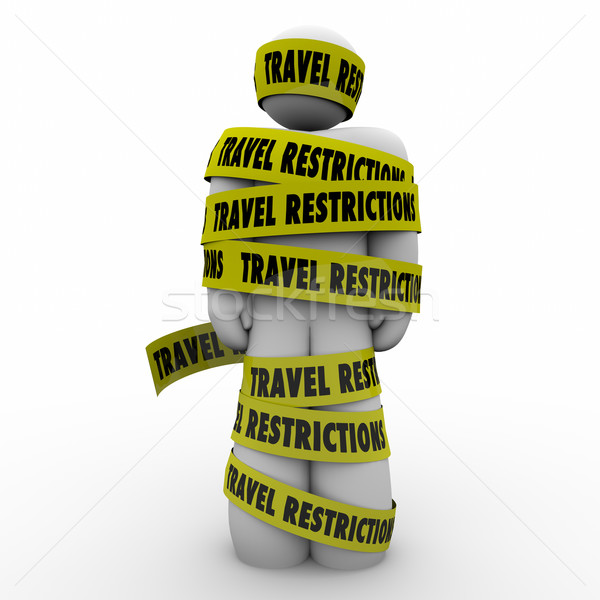 Travel Restrictions Man Wrapped Yellow Tape Danger Warning Stock photo © iqoncept