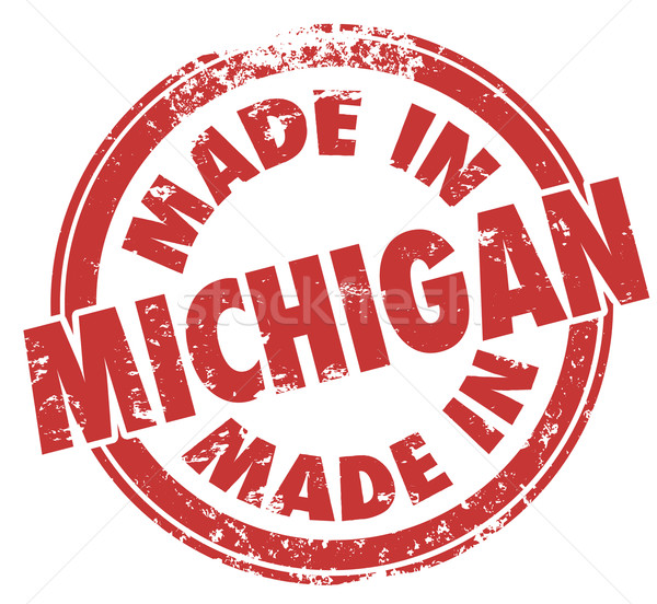 Made in Michigan Red Ink Stamp Manufactured Produced Detroit Sta Stock photo © iqoncept