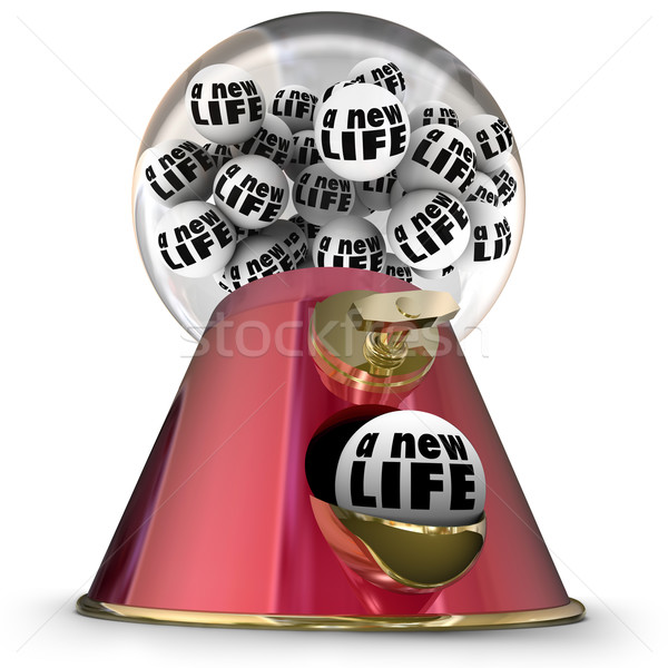 A New Life Gumball Machine Start Over Begin Again Fresh Opportun Stock photo © iqoncept
