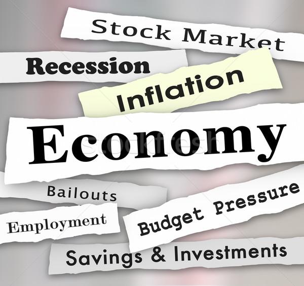 Gazdaság újság főcímek pénzügyi beszámoló beruházás szavak Stock fotó © iqoncept