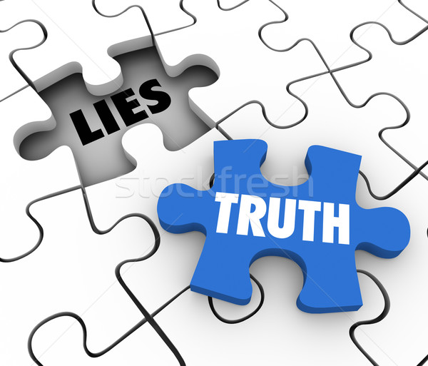 Truth Vs Lies Puzzle Piece Words Compete Honest Facts Whole Stor Stock photo © iqoncept