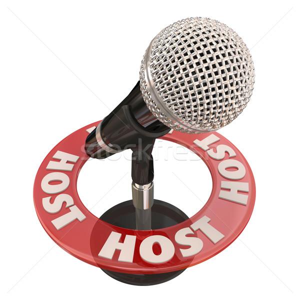 Gospodarz mikrofon program pokaż dyskusji Język Zdjęcia stock © iqoncept