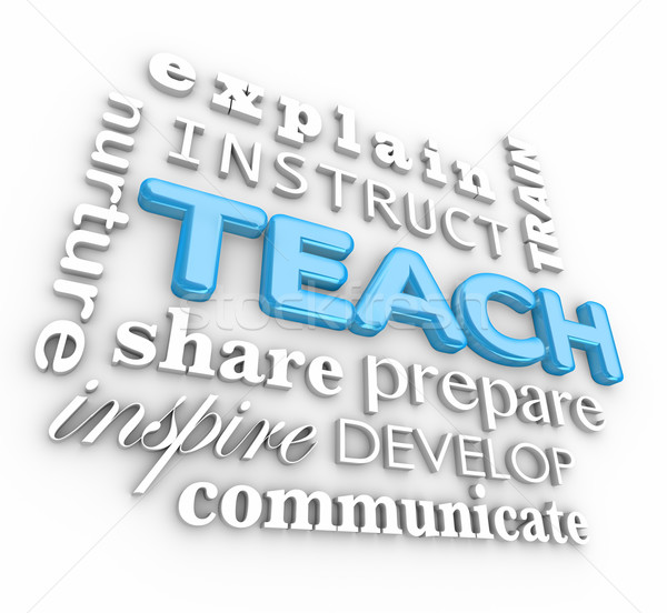 Teach 3d Word Collage Inspire Instruct Train Prepare Nurture Stock photo © iqoncept