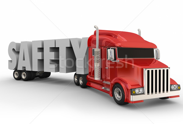 Safety Truck Trailer 3d Word Driving Training Semi Big Rig Stock photo © iqoncept