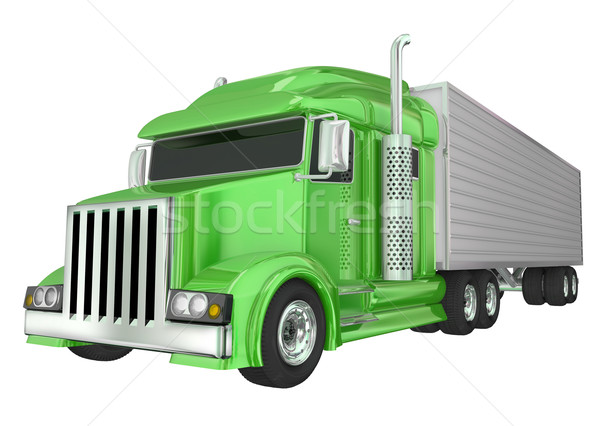 Green Semi Truck 18 Wheeler Big Rig Hauler Stock photo © iqoncept