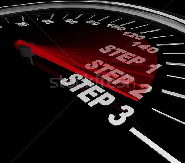 Schritt Anleitung Richtungen Aufgabe Job Stock foto © iqoncept