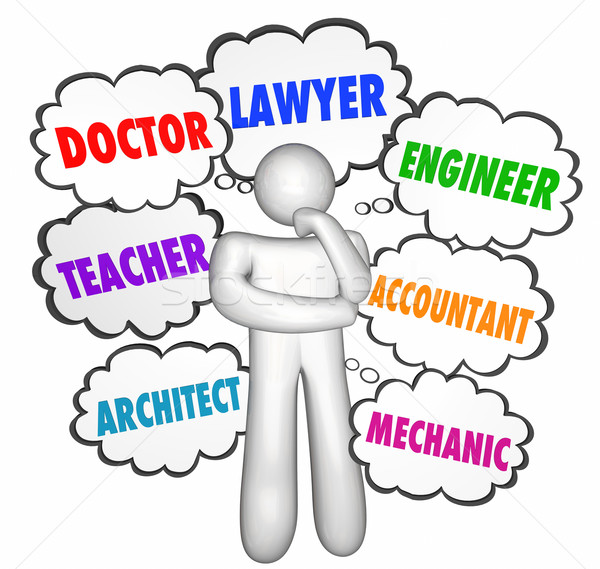 Careers Jobs Thinking Person Thought Clouds Options Words Stock photo © iqoncept