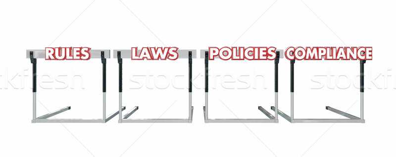 Rules Laws Policies Compliance Jumping Hurdles Legal Business Stock photo © iqoncept