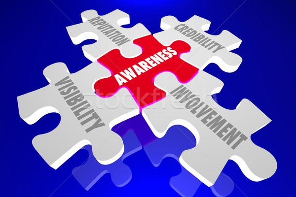 Awareness Reputation Visibility Credibility Involvement Puzzle P Stock photo © iqoncept