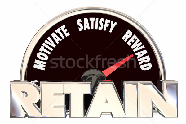 Retain Customers Employees Retention Speedometer 3d Illustration Stock photo © iqoncept