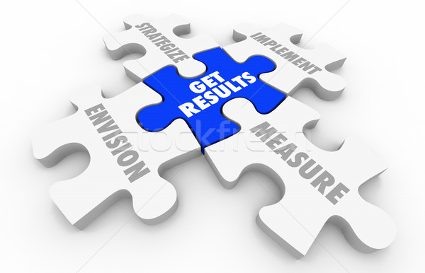 Get Results Puzzle Pieces Outcome Success 3d Illustration Stock photo © iqoncept