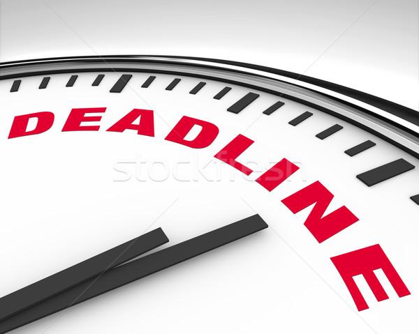 Date limite mot horloge blanche lettres texte Photo stock © iqoncept